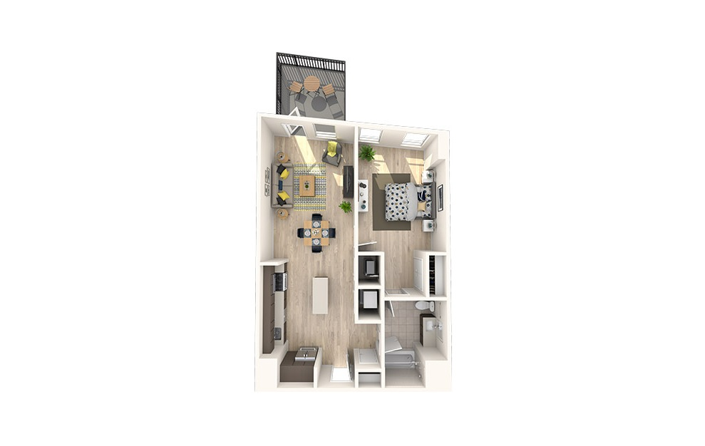 A16 - 1 bedroom floorplan layout with 1 bath and 761 square feet. (3D)