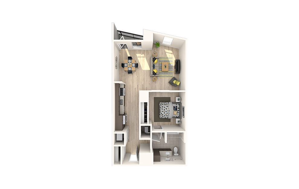 A18 - 1 bedroom floorplan layout with 1 bath and 781 to 784 square feet. (3D)