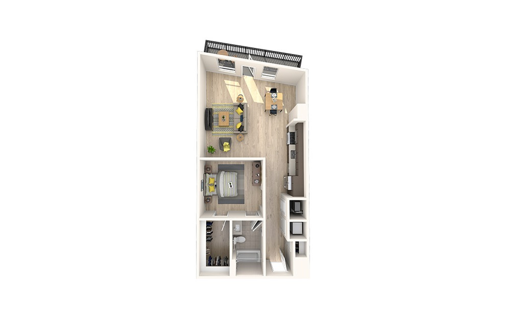 A20 - 1 bedroom floorplan layout with 1 bath and 786 square feet. (3D)