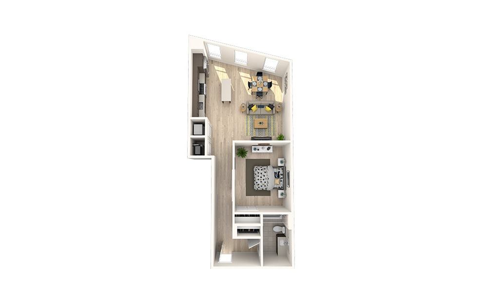 A22 - 1 bedroom floorplan layout with 1 bath and 801 square feet. (3D)