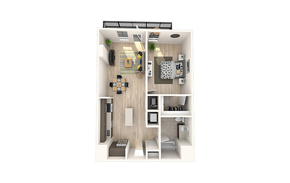 A23 - 1 bedroom floorplan layout with 1 bath and 803 square feet. (3D)