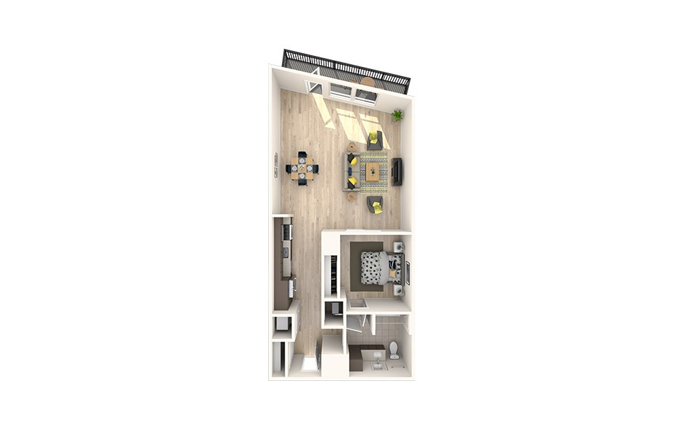 A27 - 1 bedroom floorplan layout with 1 bath and 906 square feet. (3D)