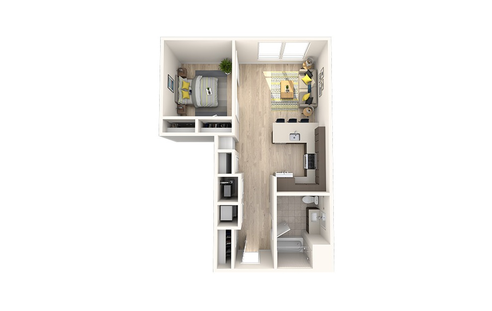 A4 - 1 bedroom floorplan layout with 1 bath and 701 square feet. (3D)
