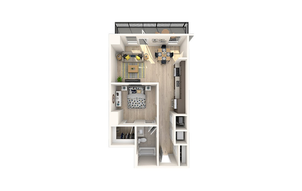A7 - 1 bedroom floorplan layout with 1 bath and 663 square feet. (3D)