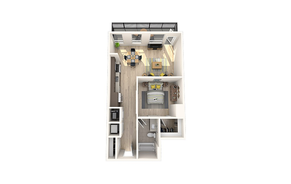 A8 - 1 bedroom floorplan layout with 1 bath and 663 square feet. (3D)