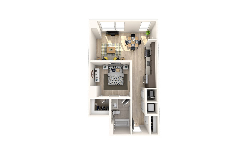 A9 - 1 bedroom floorplan layout with 1 bath and 687 square feet. (3D)