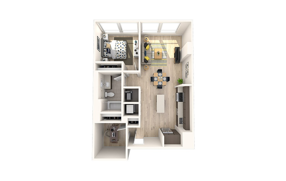 B3 - 1 bedroom floorplan layout with 1 bath and 799 square feet. (3D)