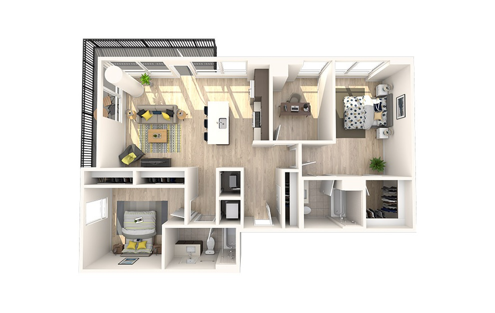 C12 - 2 bedroom floorplan layout with 2 baths and 1225 square feet. (3D)