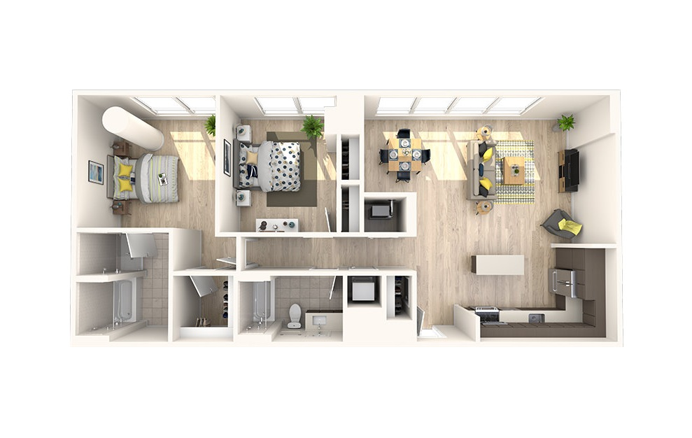 C13 - 2 bedroom floorplan layout with 2 baths and 1247 square feet. (3D)