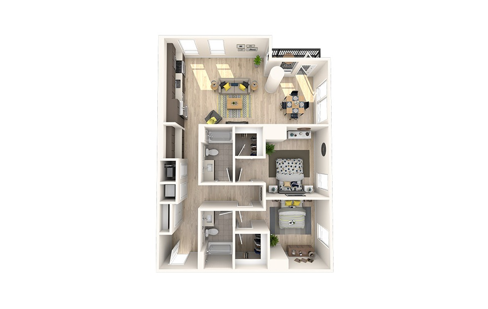C14 - 2 bedroom floorplan layout with 2 baths and 1250 square feet. (3D)