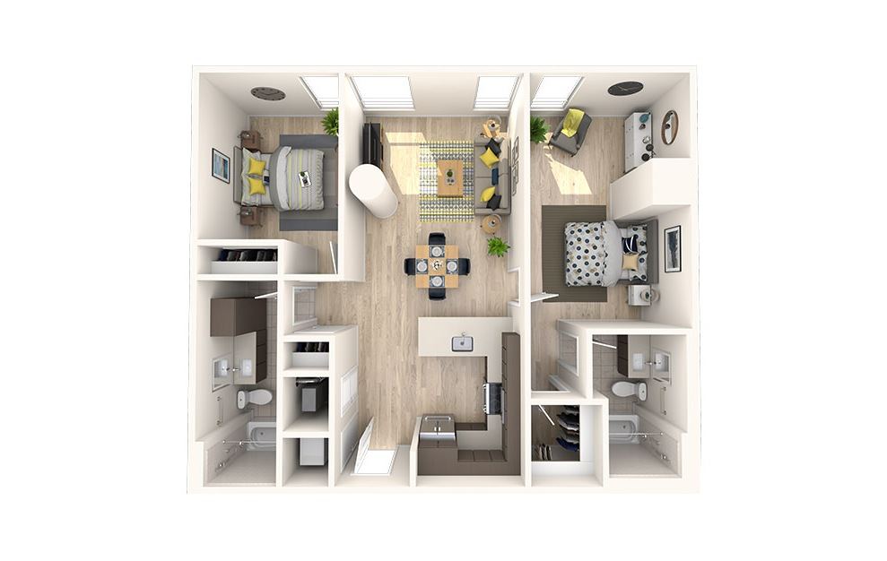 C6 - 2 bedroom floorplan layout with 2 baths and 996 square feet. (3D)