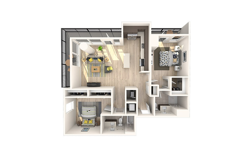 C7 - 2 bedroom floorplan layout with 2 baths and 1091 square feet. (3D)