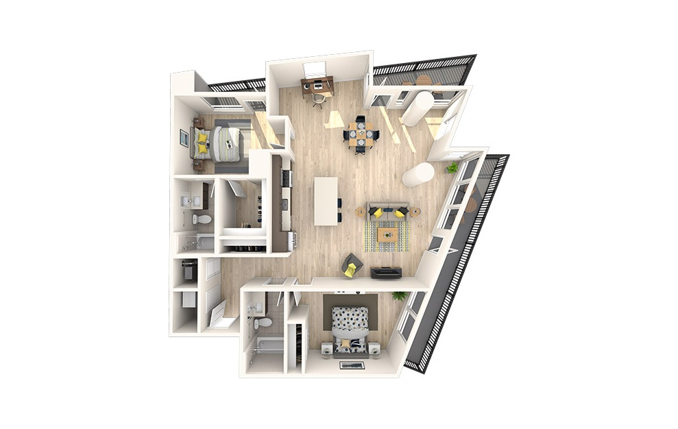 D3 - 2 bedroom floorplan layout with 2 baths and 1372 square feet. (3D)