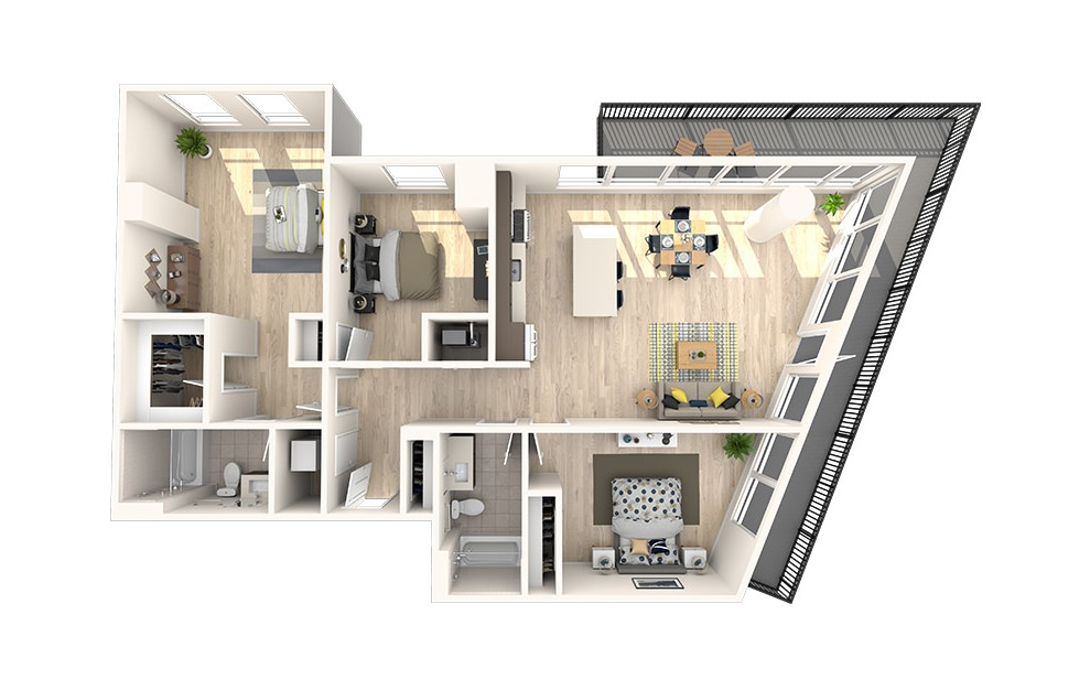 D4 - 3 bedroom floorplan layout with 2 baths and 1387 square feet. (3D)