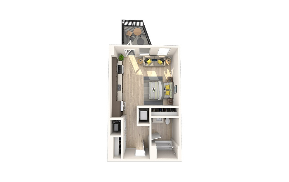S2 - Studio floorplan layout with 1 bath and 526 square feet. (3D)