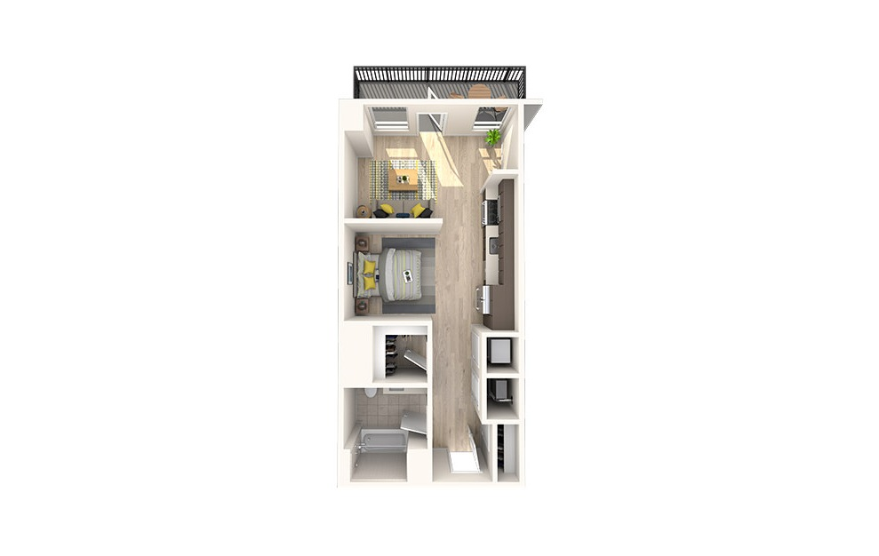 S4 - Studio floorplan layout with 1 bath and 549 square feet. (3D)